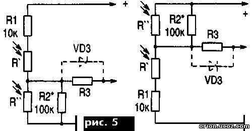 Датчиками освещенности и температуры могут быть приборы с различным сопротивлением - диапазон перестройки схем.